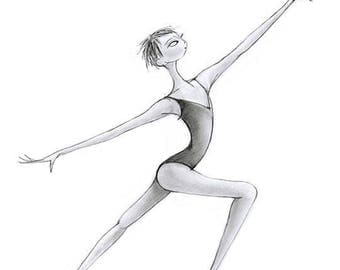"Ballet Dance Art-Gymnastics-Giclee Print of Original Illustration 8""x10""-Dancer Ballerina Gymnast-'Cecily'-Grey Black-Jazz Modern-WallArt"