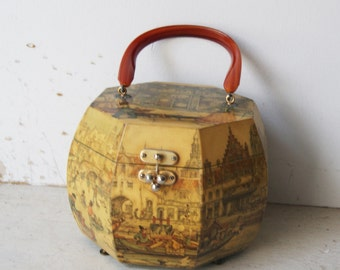 Vintage Anton Pieck Octagonal Wooden Decoupaged Box Purse
