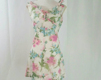 1960s Chiffon Floral A Line Mini Dress XS