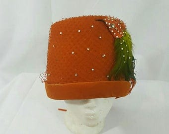 Vintage Orange Velvet Netted Feathered Bird Tall Bucket Cloche Statement   Hat