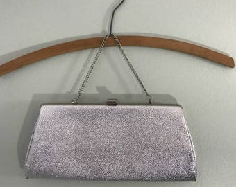 Vintage 1960s Silver Clutch with Optional Chain