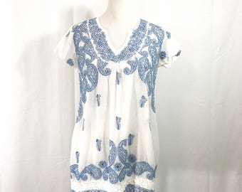 Vintage Embroidered Tunic Cover Up Dress M