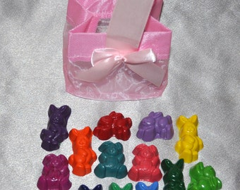 Crayons Rabbit Shaped With Pink Basket Bag, Total of 15 Different Colored Bunny Crayons.  Girl Kids Unique Party Favors, Easter Favors.