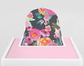 Blush Grey Floral // IKEA Antilop Highchair Cover // High Chair Cover for the PYTTIG Cushion // Pillow Slipcover