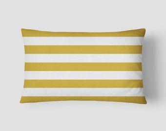 """Mustard Stripe // Decorative Pillow Cover 12""""x18"""" // Lumbar Pillow // Rectangular Throw Pillow"""