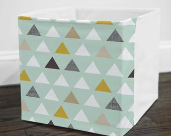 Mint Mod Triangle // Storage Bin Cover // Fits into Ikea KALLAX or EXPEDIT shelf unit  // Ikea DRONA Box Cover