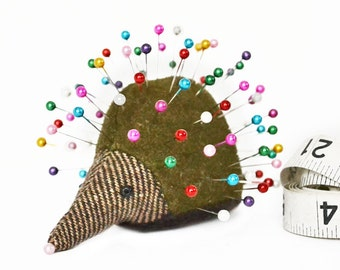 Pincushion, Hedgehog, upcycled wool, handmade, Bryony Baneberry