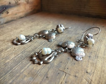 Vintage Mexican silver earrings with natural pearls, 1940s Mexican earrings, Mexican jewelry, vintage silver earring, wedding earrings pearl