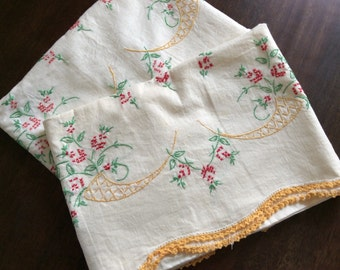 Vintage Embroidered Pillowcases, Beautiful Handmade Gift Floral PillowCase, Shabby Chic Cottage, Crotchet Case Bedding, Guest Room Pillows