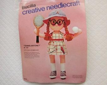 "Vintage Doll Kit, TENNIS ANYONE? 20"" Tall Doll, Bucilla Needlecraft 2376"