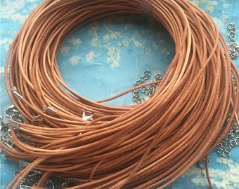 double strands--15pcs 16-18 inch adjustable 1.5mm natural brown genuine leather necklace cords with lobster clasps