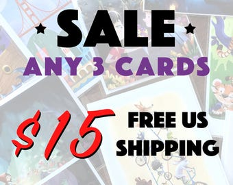 SALE   3 Cards for 15 dollars   5x7 Blank Greeting Cards   Cute Wall Art   Special Occasion   Kids Nursery Room Decor