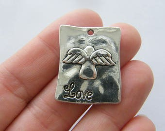 BULK 20 Angel love charms antique silver tone AW163