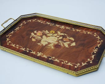 Large Vintage Italian Marquetry Inlaid Wood & Brass Serving Tray-Rectangle w/ Handles