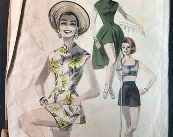 Butterick 1950's Misses' Play Suit, Shorts & Midriff Bra Top Pattern # 7760 - Vintage Romper Set - Size 12, Bust 30