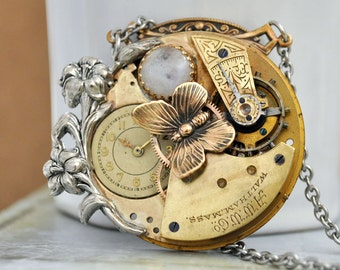 LOVE TAKES TIME steampunk antique brass Waltham year 1900s pocket watch movement necklace with Iris and Swarovski glass cab