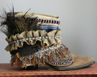 Vintage Justins, embellished, one of a kind cowgirl boots, women's size 6 1/2