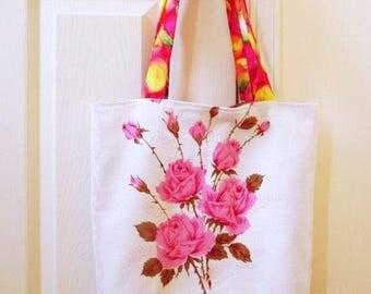 "Linen lunch bag, book tote, shabby pink roses, 15"" x 15"", handmade fabric bag, reusable market bag, shoulder shopping tote bag"