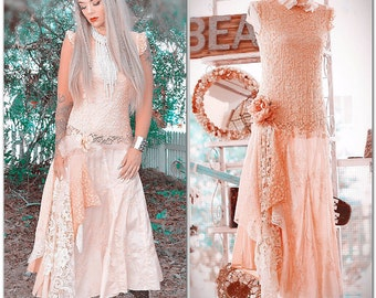 M Romantic boho peach spring dress, Lace ruffle mori girl drop waist dress, Bohemian spring dresses, woodland fae looks True rebel clothing