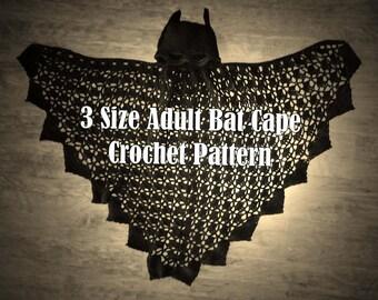 3 Sizes Adult Bat Cape Crochet PATTERN - PDF