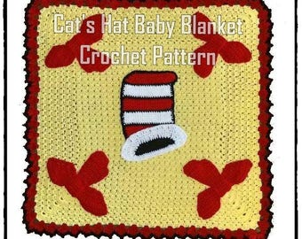 Cat's Hat Baby Blanket Crochet Pattern with bonus Lovey PDF - INSTANT DOWNLOAD