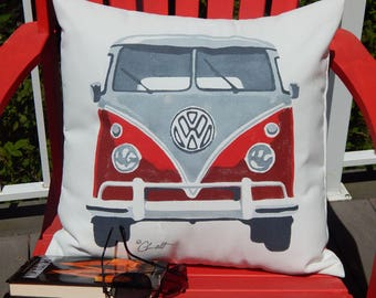 "Outdoor pillow VW CAMPERVAN vintage  splittie surfer 20x20"" Volkswagen camper split window hand painted choose color Crabby Chris™ Original"