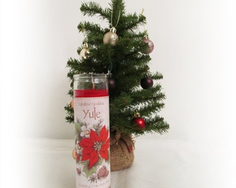 Red Yule Candle - Winter Solstice, Christmas - Natural  Winter Berry Scent, Balance, Peace, Illumination
