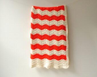 Vintage Crocheted Blanket, Handmade Afghan, Red and White Zig Zag Blanket