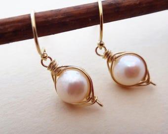 Pearl and gold earrings, white pearl earrings, single white pearl drop earrings, gold wire wrapped pearl earrings, June birthstone, handmade