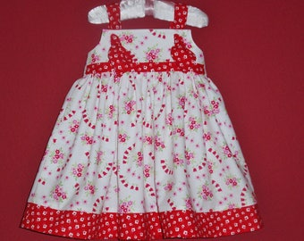 Toddler Summer Dress - Girls Red and White Knot Dress - On SALE Ready to Ship - Sizes 18-24 mo and 2T by Hopscotch Avenue