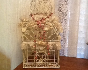 Ornate White Wire Bird Cage Beautifully Decorated Bridal Wedding Cards Cottage Shabby Chic Victorian Decor