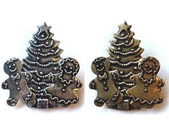 Vintage Gingerbread Couple Christmas Tree Brooch Pin Brass or Silver Christmas jewelry Newlywed Anniversary Wedding Gift Grandma Mom Mother
