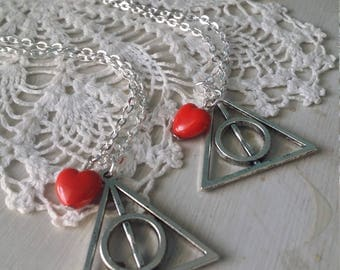 Best friends Harry potter deathly hallows necklace set