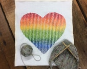 Organic Linen Knitting Project Bag- Love in Every Stitch - medium size