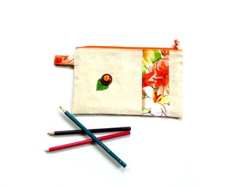 Cosmetic bag, linen clutch zipper pouch, makeup bag, travel bag, bridesmaids gift, orange floral, slim clutch, clutch pouch, make up bag