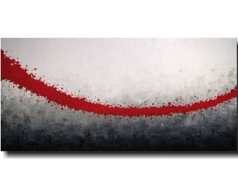 "Painting Large Abstract original  painting Wall art-- 24 X 48""- JMJartstudio-Distinction --wall decor personalized red--Oil painting"