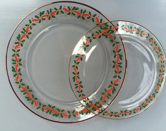 Vintage Clear Glass Christmas  Plates with a Holly  Motif