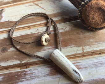 Axis deer antler shed necklace tip with a button clasp