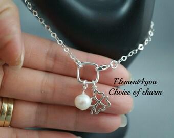 Clover leaf bracelet sterling silver Freshwater pearl Good luck charm Friendship bracelet Gift for Girlfriend Mom Sister Lucky charm Square