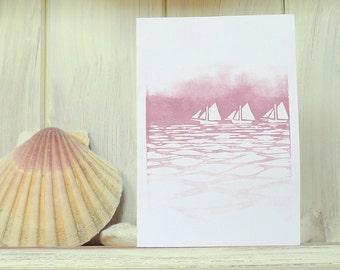 Galway Sailing Boats Lino Print Greeting Cards Set of 3