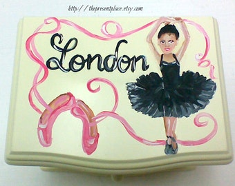 personalized musical jewelry box,pink,black,African American,girls jewelry box,musical ballerina jewelry box,kids jewelry box,roses