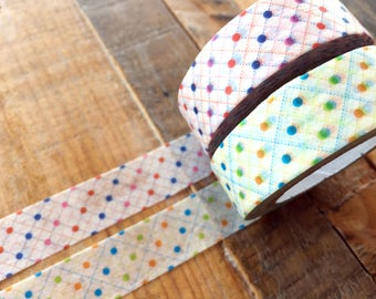 MT 2016 New - Japanese Washi Masking Tapes / Dotted Dots Red or Green for journaling, scrapbooking, packaging, party deco, card making