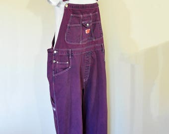 Wine 24W XL Bib OVERALL Pants - Red Violet Dyed Upcycled Revolt Cotton Denim Overalls - Adult Womens Sz Extra Large (48 w x 30 L)