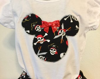 Yo Ho Ho!  Pirate twirly skirt & shirt set, perfect for Disney's Pirate League, Halloween, Gasparilla