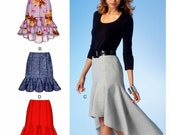 High Low Skirt Pattern, High Low Ruffle Skirt Pattern, Flounce Skirt Pattern, Semi Fitted Skirt Pattern, McCall's Sewing Pattern 7054
