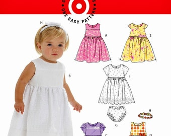Infants' Dress and Panties Pattern, Toddlers' Dress and Panties, Baby Dress Pattern, Sz 13 to 29 lbs, McCall's Sewing Pattern 6015
