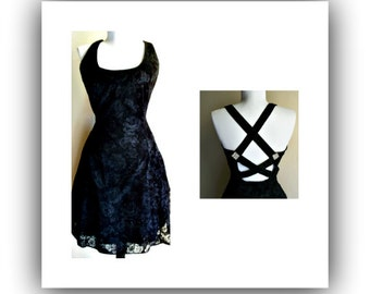 Vintage 80s Maurices party prom dress, halter dress, party dress, 80s dress, prom dress, dance dress, black glitter dress