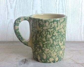 Vintage Roseville Ohio Ceramic pottery Mug Sponge Ware Green Robinson Ransbottom