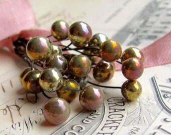 "Handmade glass headpins  ""Belladonna""  8mm round, 3"" long copper wire, 22 gauge, lampwork, pink gold rainbow iridescent (4 head pins)"