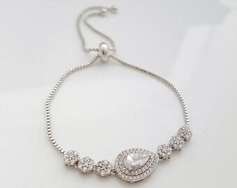 Crystal Wedding Bracelet, Bridal Bracelet,Wedding Jewelry, Bridesmaid Bracelet, Rose Gold, Gold, Crystal Teardrop Bracelet, Jana Bracelet